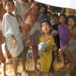 Handing out clothes to the Mangyans - Sparrow Foundation